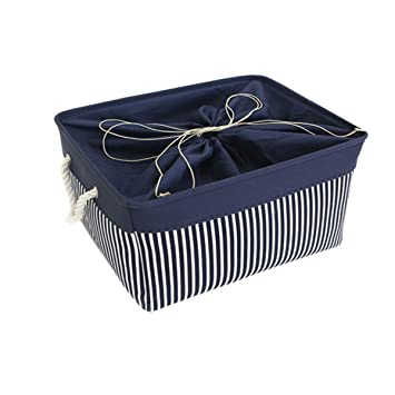 TcaFmac Large Decorative Fabric Storage Basket Bin Canvas Toy Storage  Organizer Baby Laundry Basket (Navy