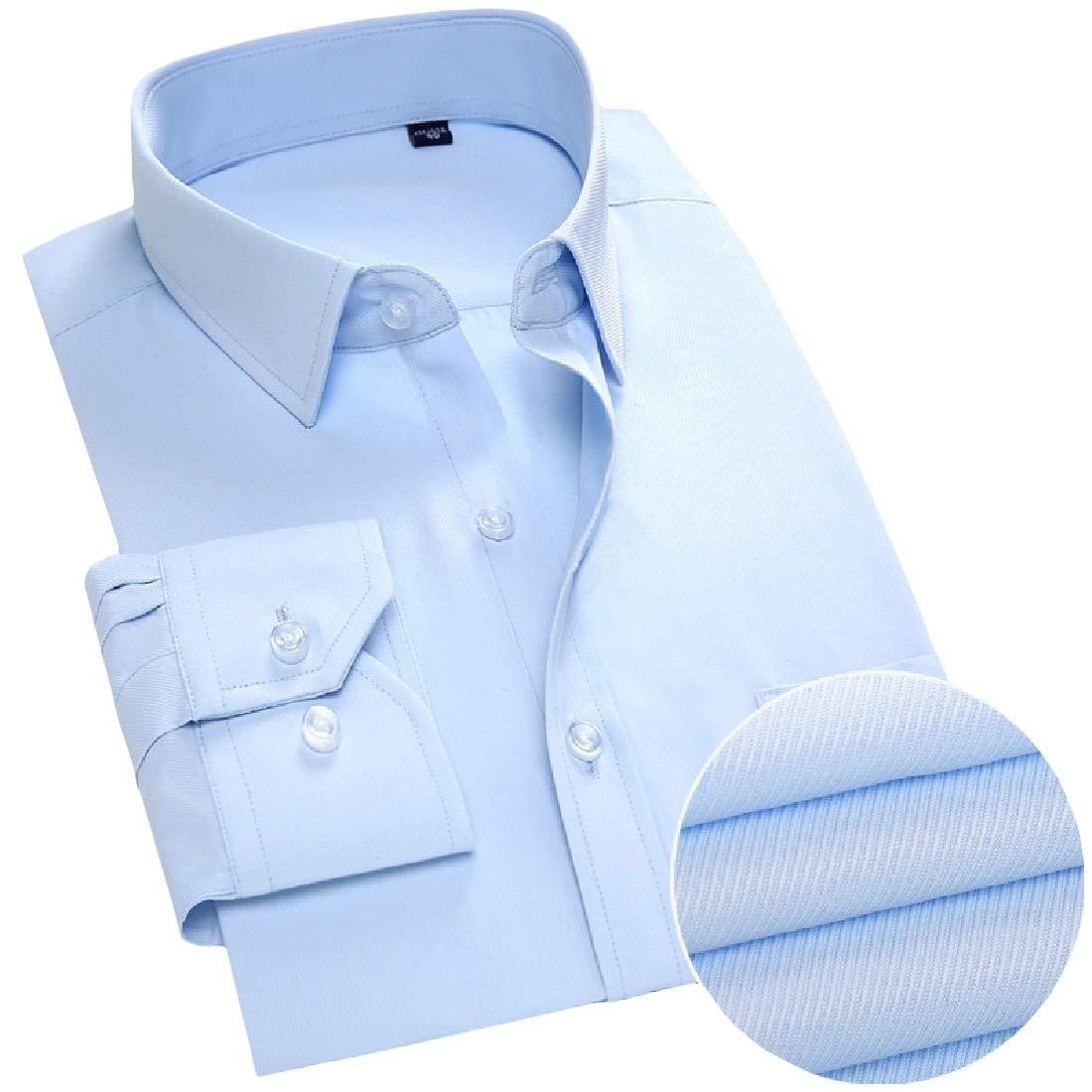 Freely Mens Business Plus Size Long Sleeve Cotton Lapel Button Top Dress Shirts