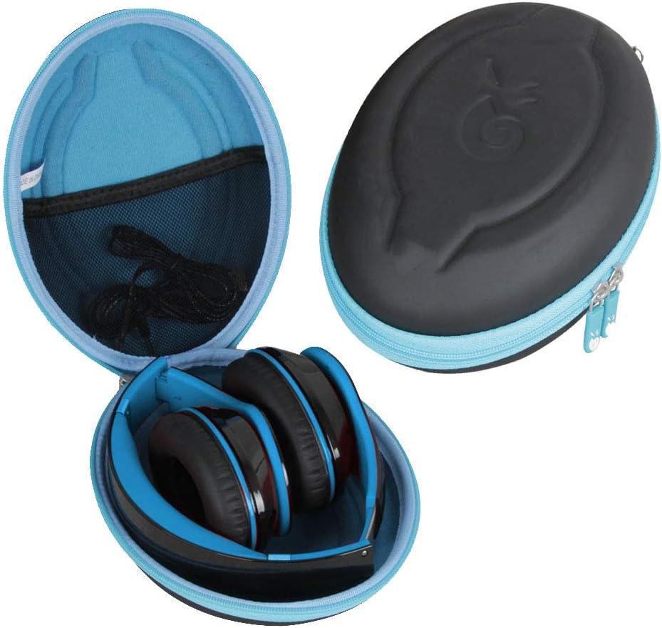 Hetmitshell Hard EVA Travel Case Fits Mpow 059 Bluetooth Headphones Over Ear Hi-Fi Stereo Wireless Headset Foldable Soft Memory-Protein Earmuffs Black Case Blue Zipper