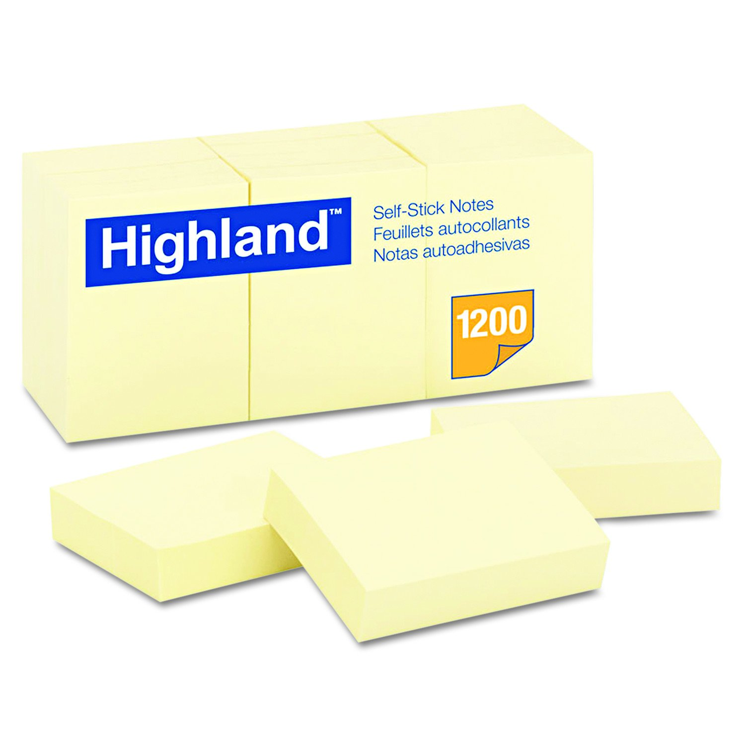 Highland 6539YW Self-Stick Notes, 1 1/2 x 2, Yellow, 100-Sheet (Pack of 12)