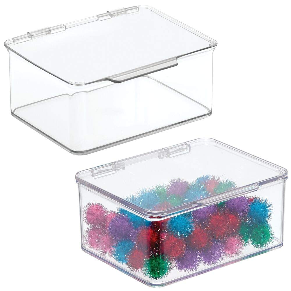 """mDesign Stackable Plastic Craft, Sewing, Crochet Storage Container Bin with Attached Lid - Compact Organizer and Holder for Thread, Beads, Ribbon, Glitter, Clay - Small, 3"""" High - 2 Pack - Clear"""