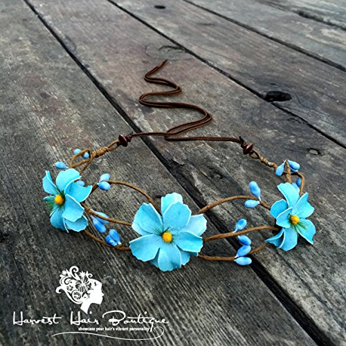 Light teal boho flower crown // Baby blue floral bridal headband for bohemian wedding // Flower headband perfect for woman, teens or kids
