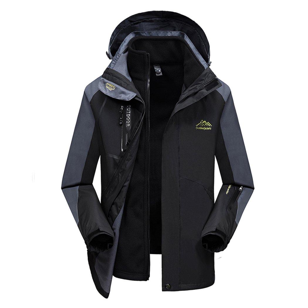 SemiAugust(セミオーガスト)メンズマウンテンパーカー 防寒コート アウトドア 取り外し可能 ジャケット 多機能 登山服 防風 防水 スキー 秋冬 裏フリース 3WAY B0784JXF4B XXXXX-Large|ブラック ブラック XXXXX-Large