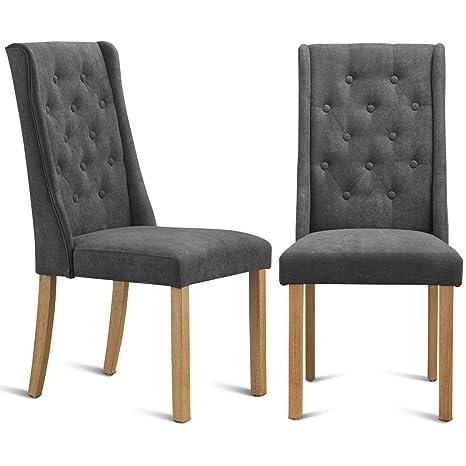 Amazon.com - Dark Grey Color Set of 2 Fabric Dining Chairs ...