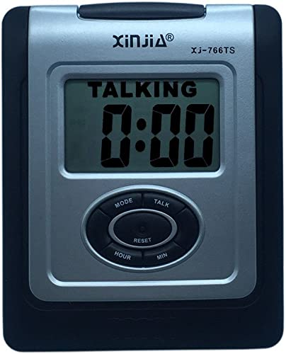 Spanish Talking LCD Digital Alarm Clock for Blind or Low Vision with Big Time Display and Lound Talking Voice Black