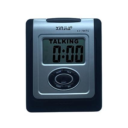 VSONE Reloj Despertador Parlante en Español, Alarma LCD con voz, Reloj Hablando (Negro)