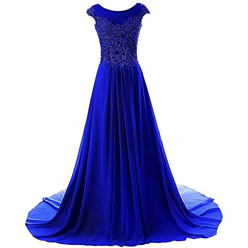 JAEDEN Prom Dresses Long Evening Gowns Lace Bridesmaid Dress Chiffon Prom Dress Cap Sleeve Royal Blue