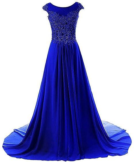 Review JAEDEN Prom Dresses Long Evening Gowns Lace Bridesmaid Dress Chiffon Prom Dress Cap Sleeve