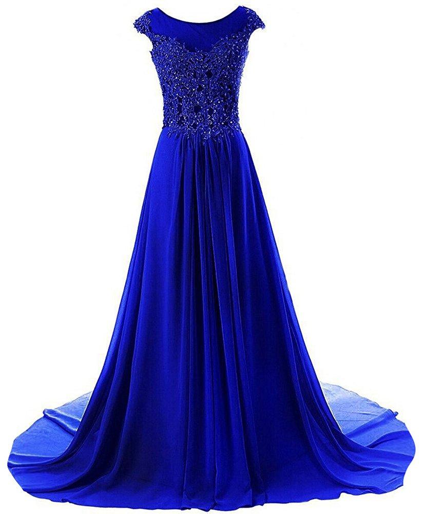 JAEDEN Prom Dresses Long Evening Gowns Lace Bridesmaid Dress Chiffon Prom Dress Cap Sleeve Royal Blue US10