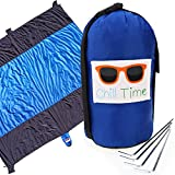 Chill Time Sand Free Extra Large 10ft x 9ft Outdoor Hiking, Beach, Picnic Blanket with Travel Pouch Anchor Loops and Stakes Perfect for Laying on the Beach, Camping, Family Picnics Outdoors