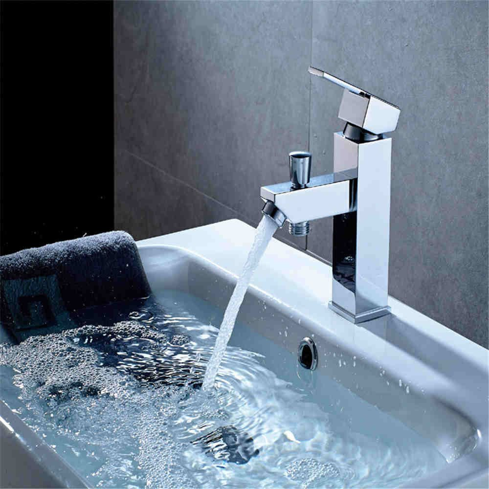 SADASD Modern Bathroom Basin Faucet Copper Function Quick Opening Washbasin Sink Taps Ceramic Valve Single Hole Single Handle Hot and Cold Mixer Tap With G1 2 Hose