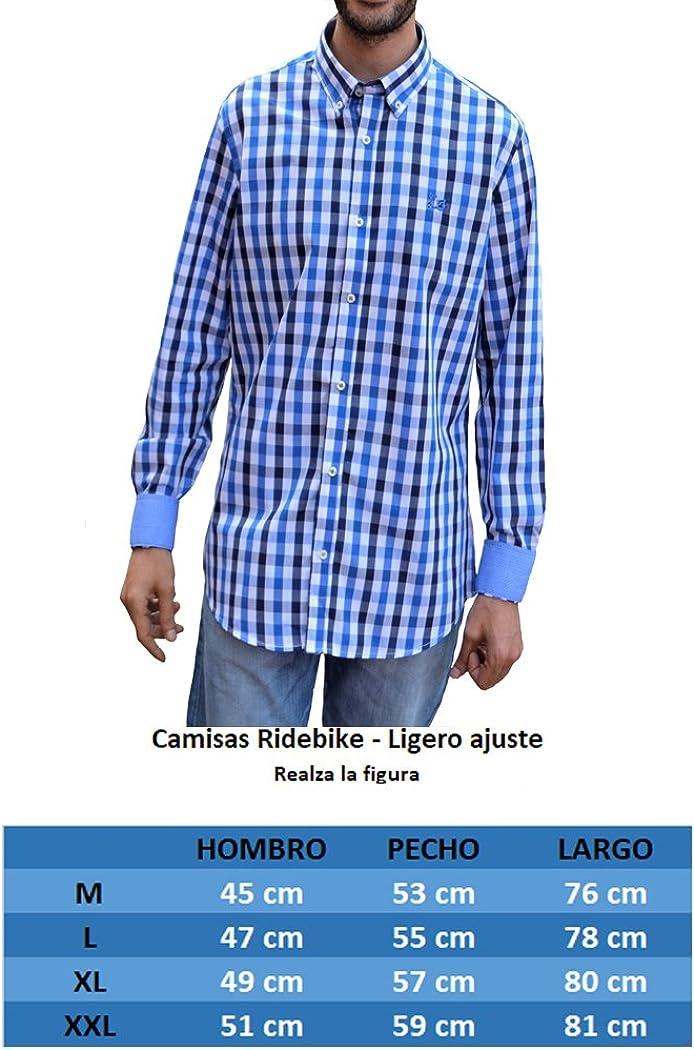 Ridebike Camisa de Cuadros Azules Vespa | Diseño de los puños a Juego con el Cuello (1756) (L): Amazon.es: Ropa y accesorios