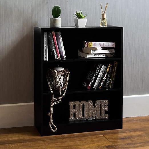 Home Discount Vida Designs - Estantería Baja Cambridge de Madera de Roble Negra con 3 estantes, para Oficina o Sala de Estar