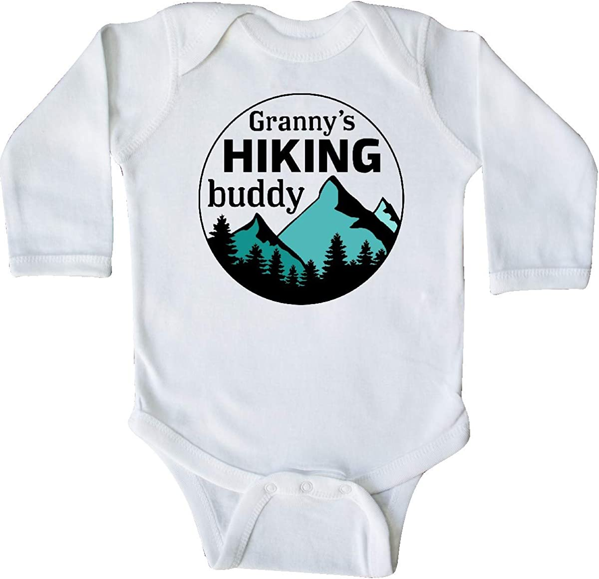 inktastic Grannys Hiking Buddy with Mountains and Trees Long Sleeve Creeper
