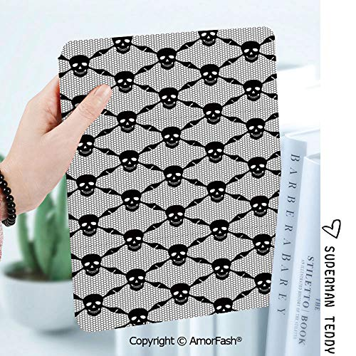Case for Samsung Galaxy Tab A 8.0 2017 Release for T380/T385,Auto Wake/Sleep,Gothic Halloween Horror Theme Spooky Black Skulls Checkered Pattern with Skeleton Bones -