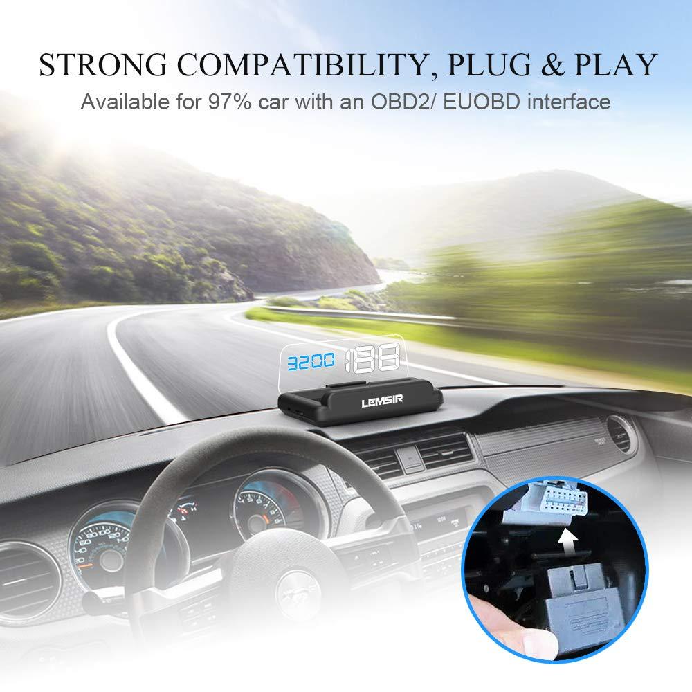 Head-Up Display, LEMSIR Car HUD Speedometer OBD II/EUOBD Interface with Foldable Display Board, Digital HD LED Projector Display Speed MPH Driving Reminder Alarm Light Sensor by LEMSIR (Image #7)