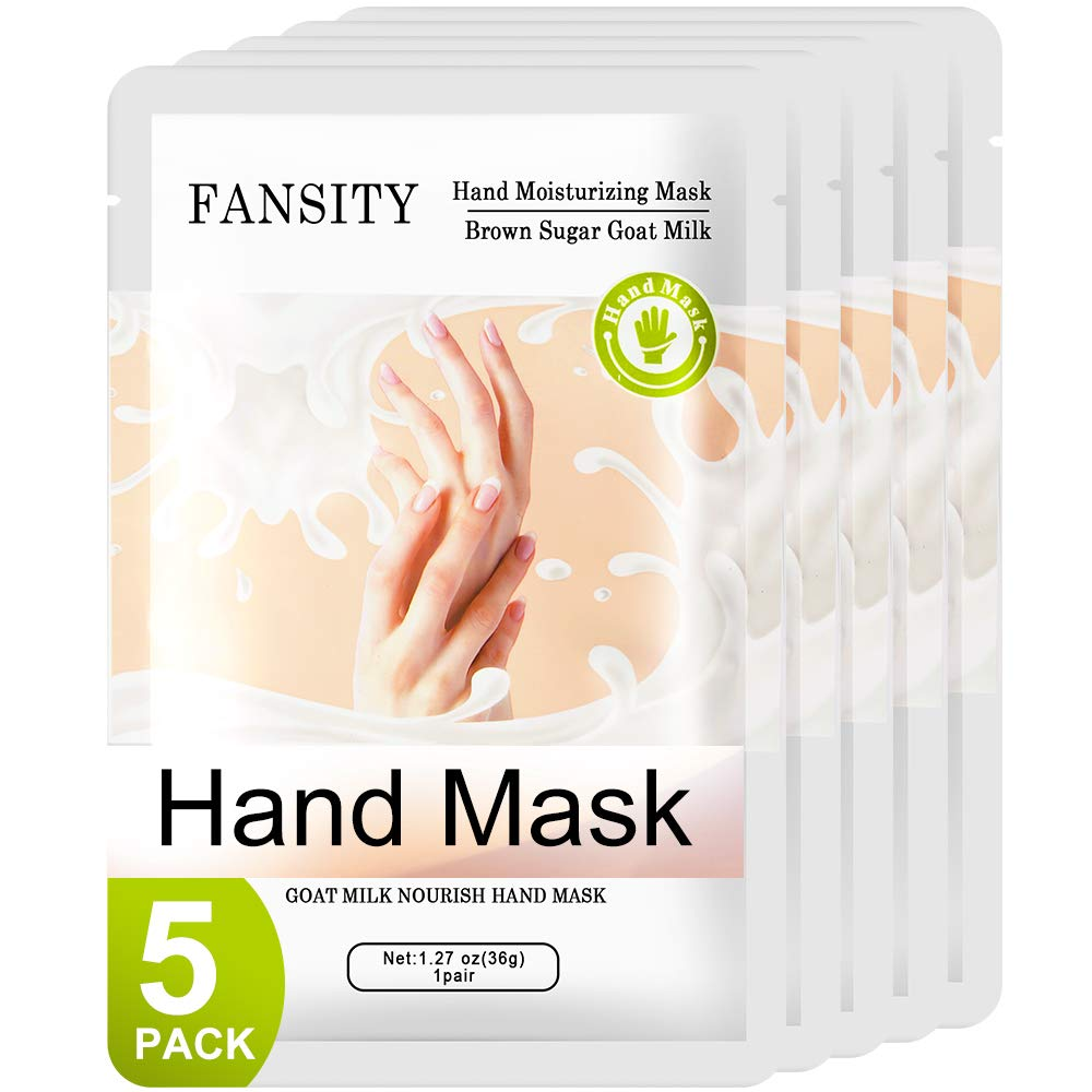 FANSITY 5 Pack Moisturizer Hands Mask of Mother's Day gift, Infused Goat Milk Natural Therapy Hand Spa Mask ,Improve for Dry, Cracked Skin Hands Moisturizing Gloves, Repair Rough Skin for Women&Men: Beauty