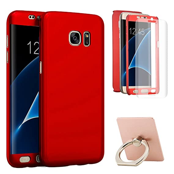 newest 61578 12cc2 Galaxy S7 Edge Case,Full Body All-around Slim Fit Protective 360 Degree  Case Cover with Screen Protector and Ring Kickstand for Samsung Galaxy S7  Edge ...