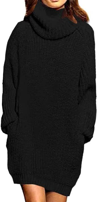 Auxo Suéter Mujer Manga Larga Invierno Tallas Grandes Suéter Tipo Cuello Tortuga Jersey Vestido Pullover Túnica Informal Sudadera Prendas Punto Tops G-Negro M