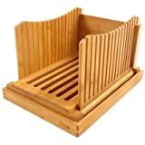 Purenjoy Bamboo Wood Foldable Bread Slicer Compact Bread Slicing Guide with Crumb Catcher Tray for Homemade Bread Thickness A