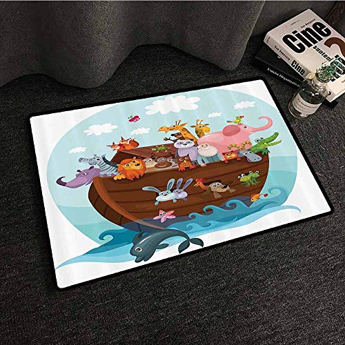 Noahs Ark Decor Collection Non-Slip Door mat Two of Every Living in Noahs Ark Ancient Architecture Humorously Designed Art Image Antifouling W16 xL24 Blue -