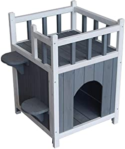 Vanessa Gay Outdoor Wood Cat House Pet Home Cat Shelter Condo with Stair