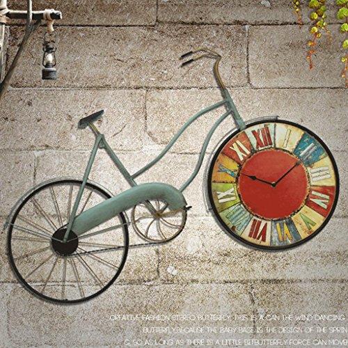 Decoración de pared WTL Reloj de Pared Retro Americano Estilo mediterráneo Decorativa Sala de Estar de Moda Creativa decoración de la Bicicleta Fondo (Color ...