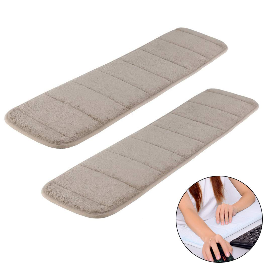2Pcs Computer Wrist Elbow Pad, Creatiee Upgraded Wrist Rest Arm Pad(Soft, Long-Sized), Keyboard Wrist Elbow Support Mat for Office Desktop Working Gaming - Less Elbow Pain (7.9 x 31.5 inch) (Khaki)