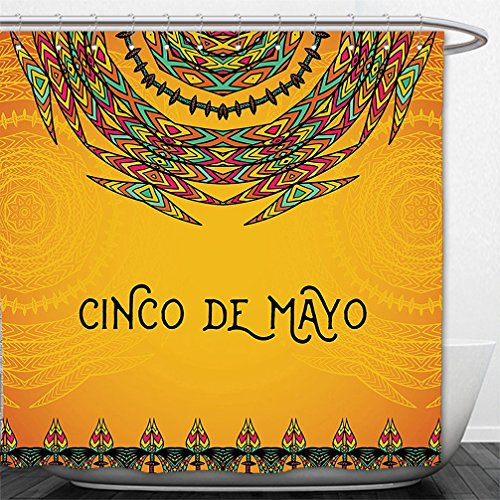 Interestlee Shower Curtain Mexican Decorations 5th May Celebration Historical National Aztec Victory Holiday Pattern Orange - Pattern Victory Swag