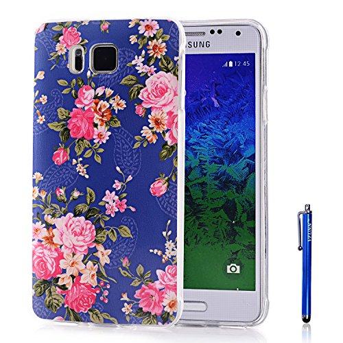 Galaxy Alpha Case,Vfunn Premium TPU Gel Scratch Resistant Funny Cartoon Case Cover for Samsung Galaxy Alpha G850F G850A G850M with 1 Screen Protector 1 Stylus Pen (Galaxy Alpha TPU Case) (Rose Blue)