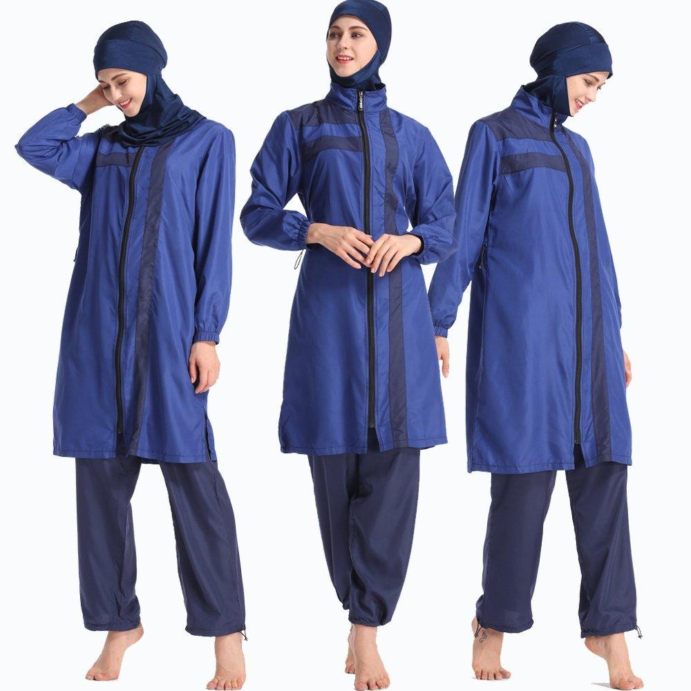 ziyimaoyi zurückhaltenden Swimwear mit Hijab Abnehmbarer, Muslimischen Badeanzug Islamische zurückhaltenden Bademode Beachwear Voller Länge Burkini Burkini