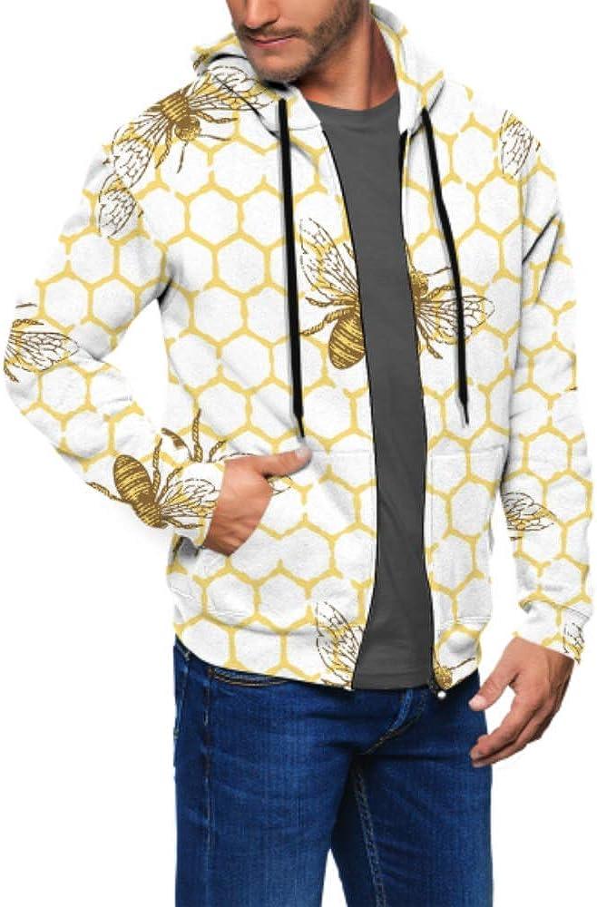 Long Sleeve Hoodie Print Bee Honeycomb Pattern Hand Jacket Zipper Coat Fashion Mens Sweatshirt Full-Zip S-3xl