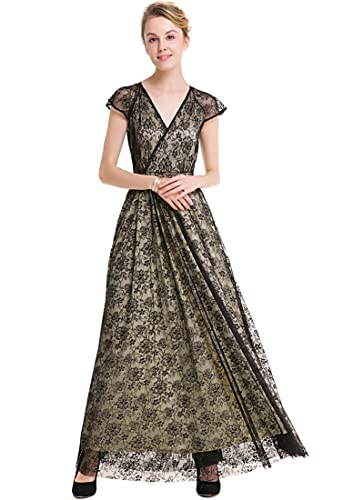 KAXIDY Glamorous V-Neck Evening Dress Black Lace Long Dresses: Amazon.co.uk: Clothing