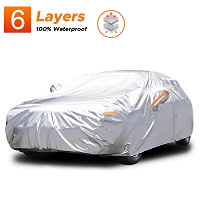 Audew 6 Layers Car Cover Waterproof All Weather Breathable UV Protection Snowproof Dustproof Universal Fit Full Car Covers for Sedan, SUV L(175''-190''): Automotive