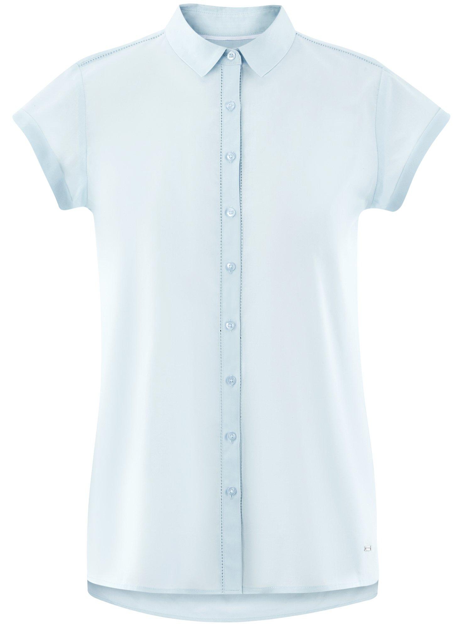 oodji Ultra Women's Short Sleeve Cotton Shirt with Turn-Ups, Blue, 2 by oodji (Image #7)