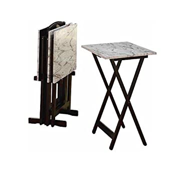 Amazon Com Wood Folding Snack Table Set Of 4 White Marble Look
