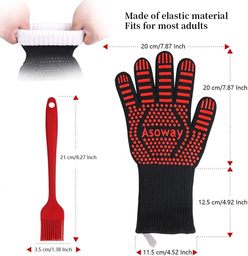 BBQ Handschuhe,ASOWAY Hitzebest/ändige Handschuhe zum Grillen Hitzebest/ändige Handschuhe zum Grillen Backofen Kochen Backen K/üche Grillhandschuhe mit Fingern,1472/°F//800℃ Best/ändigkeit Rot