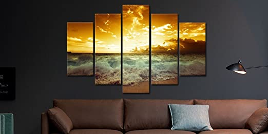 Modern Beach Painting, Beautiful Large Size Sunset Landscape Ocean Pictures Framed Stretched, for Living Room Home Decor Posters and Prints Seascape Wall Art Painting on Canvas 5 Piece, 60''W x 40''H
