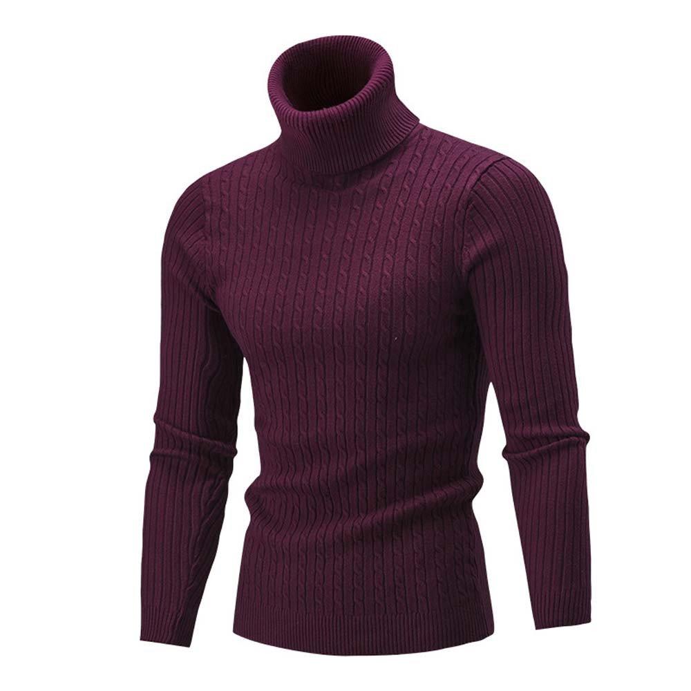 VonVonCo Homme Hiver Blouse Pull Pull-Over Roulé Haut à Col Slim Mode Casual Chaud VonVonCo2018080001
