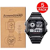 [5-Pack] For Casio AE-1200/AE-1300 Watch Screen Protector, Full Coverage Screen Protector for Casio AE-1200/AE1200WH-1A/AE1200WHD-1A Watch HD Clear Anti-Bubble and Anti-Scratch