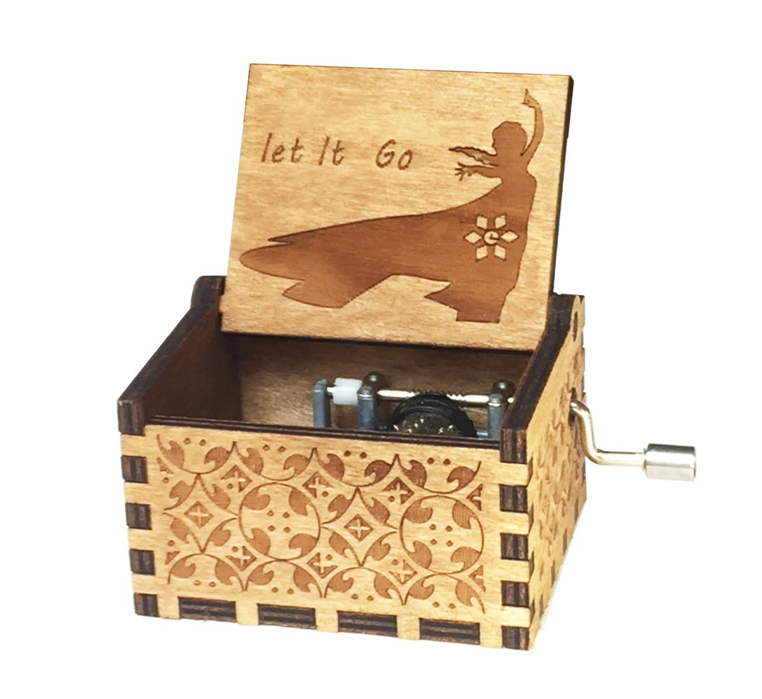 Sooye Frozen Music Box- 18 Note Mechanism Antique Carved Music Box Crafts Melody Castle in Hand (Let it go)
