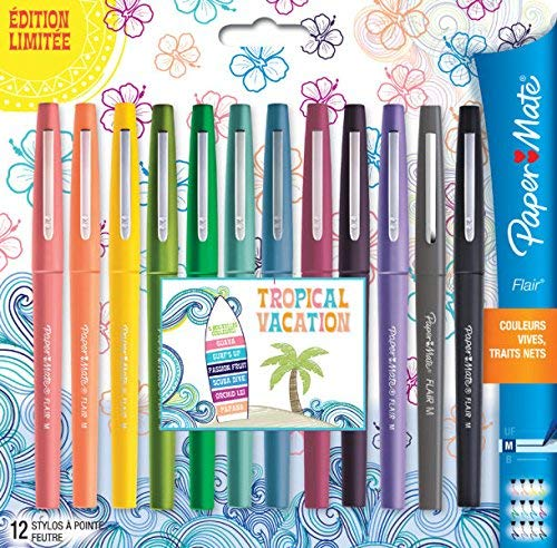 Paper Mate Flair Felt Tip Pens, Medium Point (0.7mm), Tropical Vacation Colors, 12 Count