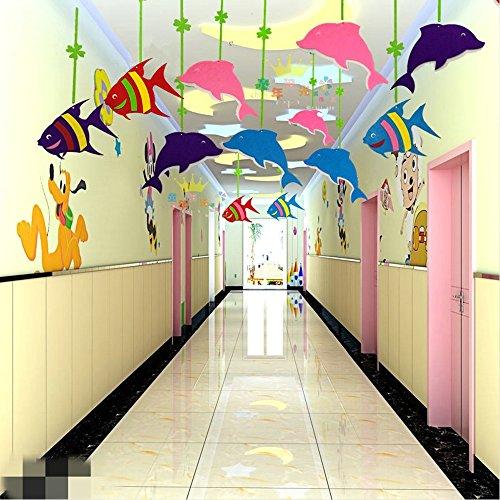 Laugh Cat Kindergarten Kids Room Decorative Cartoon Hanging Fish & Dolphin Corridor Ceiling Decoration