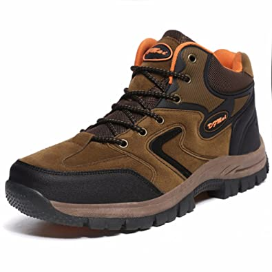 Men's Hiking Shoes Leather Backpacking Shoes Hiking Boots Outdoor Shoes For Walking Lightweight