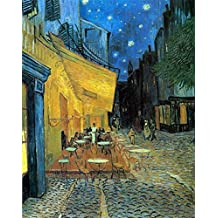 Wieco Art - Cafe Terrace at Night Modern Stretched and Framed Giclee Canvas Prints Van Gogh Oil Paintings Reproduction Cityscape Picture on Canvas Wall Art Ready to Hang for Bedroom Kitchen Home Decor