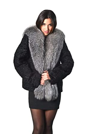 105ea50fb6 Persian Lamb swakara Fur Coat Black with blue frost fox at Amazon ...