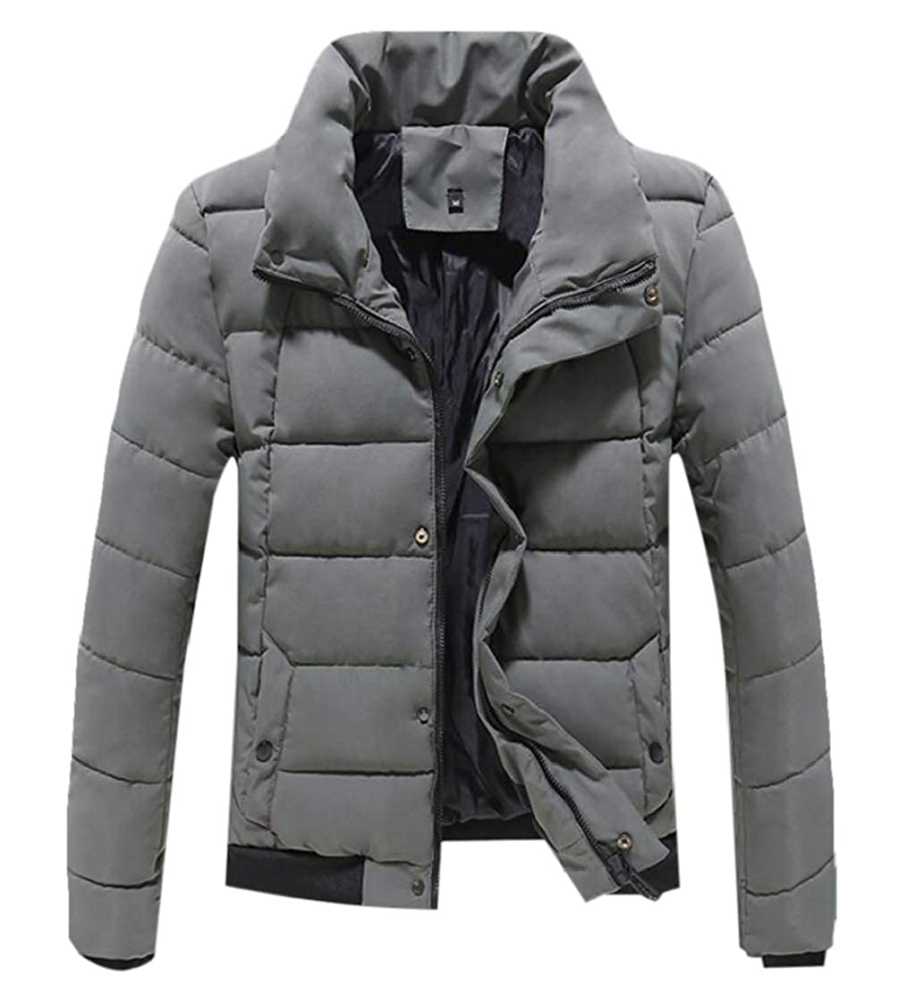 YYear Mens Stand Collar Winter Quilted Outdoor Padded Down Jacket Coat