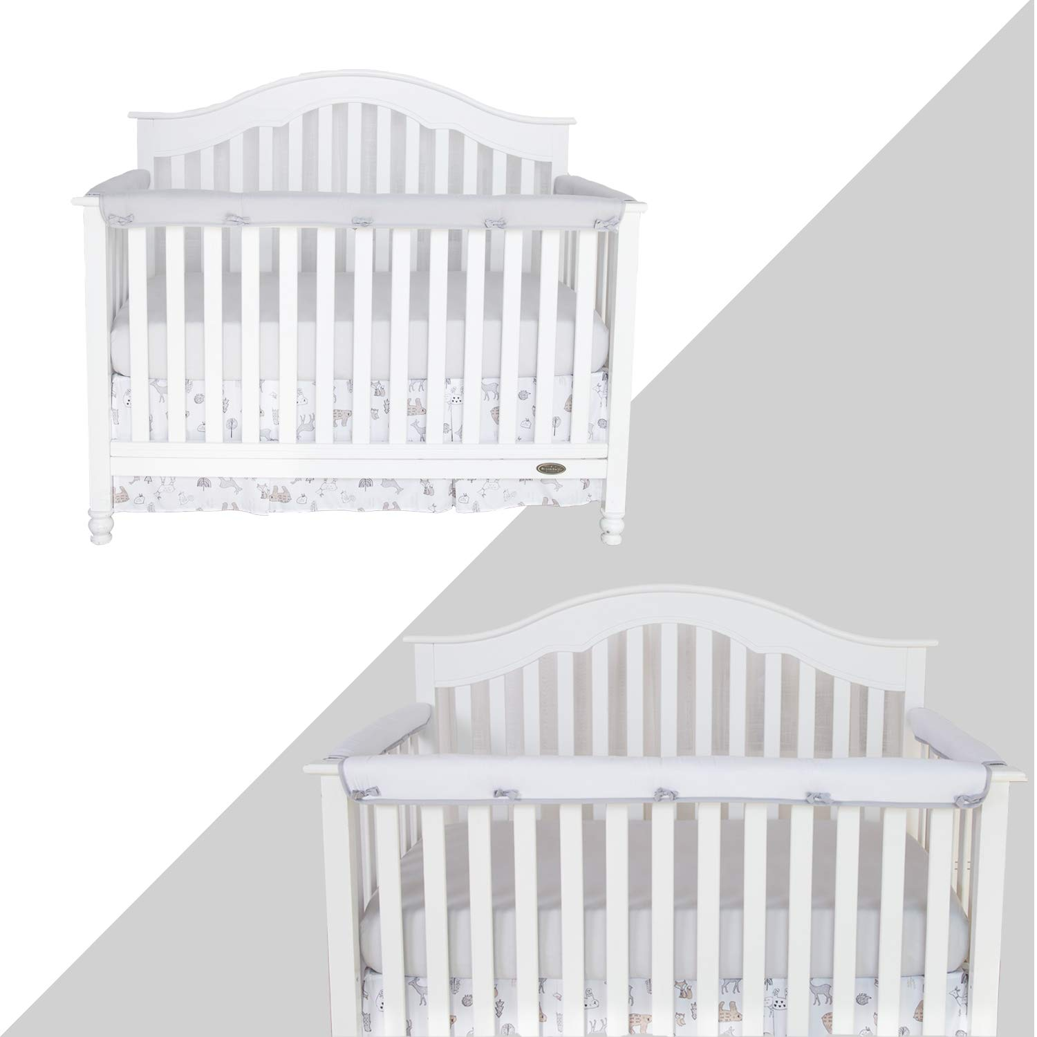 TILLYOU 3-Piece Padded Baby Crib Rail Cover Protector Set from Chewing, Safe Teething Guard Wrap for Standard Cribs, 100% Silky Soft Microfiber Polyester, Fits Side and Front Rails, Pale Gray by TILLYOU (Image #3)