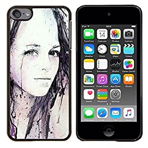 Eason Shop / Premium SLIM PC / Aliminium Casa Carcasa Funda Case Bandera Cover - Chica Acuarela Pintura Arte Negro - For Apple iPod Touch 6 6th Touch6