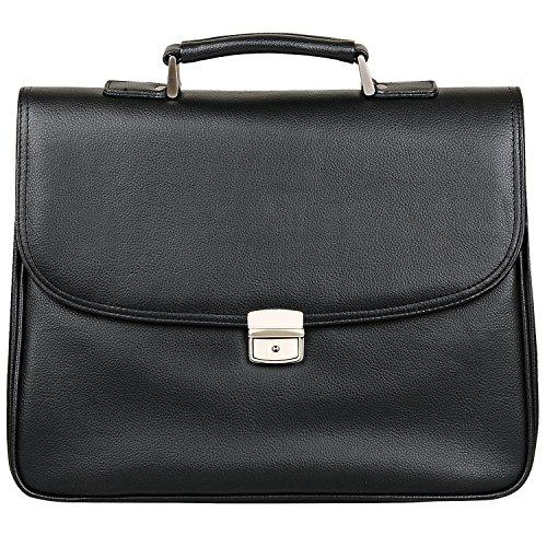 Jack&Chris PU Leather Briefcase Messenger Bag Laptop Bag, (Lock Leather Briefcase)